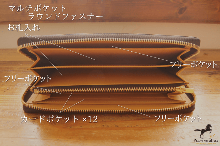 マルチポケットラウンドファスナー長財布(プラチナピンク)